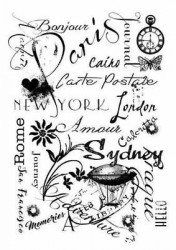 Woodware Clear Stamp travel background FRS648 (Locatie: k117)