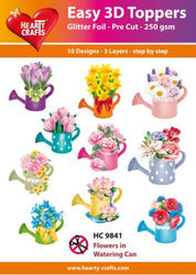 Hearty Crafts Easy 3D Toppers Flowers in watering can HC9841 (Locatie: K2)