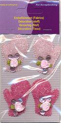 Hobby & Crafting Fun versiering (stof) handschoentjes meisje 12008-1231 (Locatie: K3)