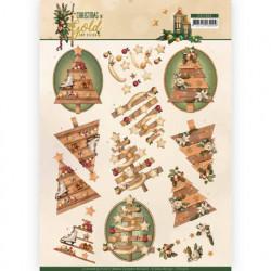 Amy Design knipvel kerstmis in goud CD11360 (Locatie: 2374)