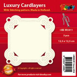 Doodey luxe oplegkaart met borduurpatroon 3 stuks ivoor vierkant BEM5911 (Locatie: K074)