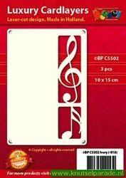 Doodey oplegkaarten muzieknoten 3 stuks ivoor BPC5502 (Locatie: K131)