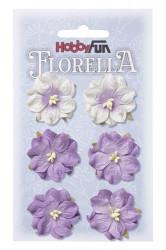 Florella, bloemen, paars, 6 stuks, 3.5 cm, 3866053