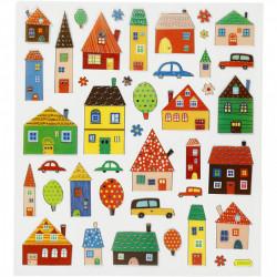 Glitter stickers, vel 15x16,5 cm, huisjes, 27189 (Locatie: 0619)