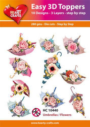 Hearty Crafts Easy 3D Toppers - Umbrellas/flowers HC10440 (Locatie: K2)
