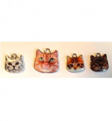 Hobby & Crafting Fun metalen bedels, Cat with 3 kittens 12424-2413