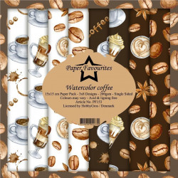 Hobbygros Paperpack, 15x15 cm, 3x8 designs, watercolor coffee, PF153