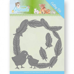 Jeanine's Art snij- en embosmal Young Animals Feathers all Around JAD10067 (Locatie: M137)