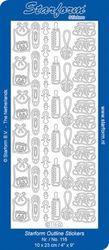 Starform stickervel babyspulletjes zilver 116 (Locatie: H393 )