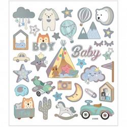 Stickers, vel 15x16,5 cm, baby boy, 1vel 28883 (Locatie: 0207)