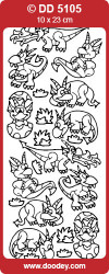 Stickervel goud dino's DD5105 (Locatie: C227)
