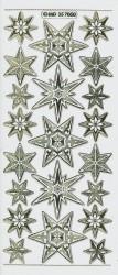 Stickervel kerststerren transparant goud MD357050 (Locatie: S123 )