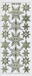 Stickervel kerststerrren transparant goud MD357050 (Locatie: S123 )
