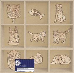 Aurelie Houten ornamenten Cats and Dogs AUWO1003 (Locatie: S2)