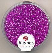 Rayher rocailles 2 mm lila met zilverdetail 17 gr. 1406435 (Locatie: K3)