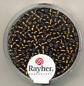 Rayher rocailles 2 mm donkerbruin met zilverdetail 17 gr. 1406405 (Locatie: K3)