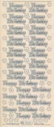 Starform stickervel Happy Birthday transparant zilver 334 (Locatie: u072)