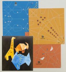 Origami Papier vouwen op nummer, 3 verschillende dieren, 12 vellen, 150x150mm
