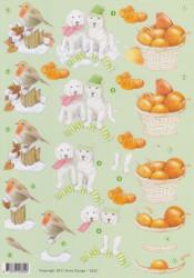 Anne Design knipvel herfst roodborstje en honden 2622 (Locatie: 5555)