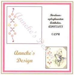 Anneke's Design 3 borduuroplegkaarten + enveloppen wit AD 003 003 (Locatie: H318 )