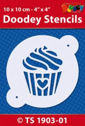 Doodey stencil cupcake 10 x 10 cm TS1903-01 (Locatie: 4630)