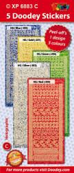 Doodey stickervellen kerst dots XP6883 set van 5 kleuren holografisch ZV51905 (Locatie: 4501)