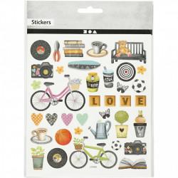 Glitter stickers, vel 15x16,5 cm, vrije tijd, 27200 (Locatie: 0208)