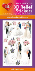 Hearty Crafts 3D Relief Stickers Wedding A4 HCRS11028-10 (Locatie: 6737)
