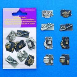 Hobby & Crafting Fun scrapbook bedels brood 8 stuks 11810-4001 (Locatie: K3)