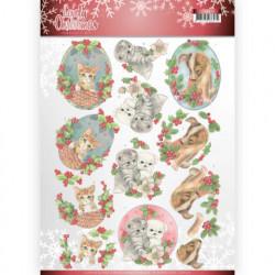 Jeanine's Art knipvel honden en katten kerst CD11375 (Locatie: 1340)