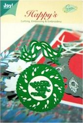 Joy Crafts snij- embos en borduurmal kerstkrans en tekst Happy New Year 6002/2006 (Locatie: I508 )