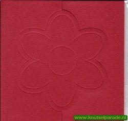 Lomiac kaart rood zigzag met bloem 3 stuks LC3141 (Locatie: Y017 )
