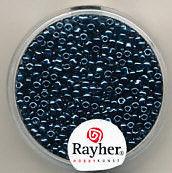 Rayher rocailles 2 mm steenblauw met zilverdetail 17 gr. 1406423 (Locatie: K3)