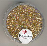 Rayher rocailles 2 mm transp. goud 17 gr. 1406106 (Locatie: K3)