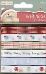 Ribbon set (6x1 mtr) Kraft Notes Christmas 367105 (Locatie: DC )