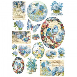 Stamperia Rice Paper A4 Blue Birds & Butterflies DFSA4077 (Locatie: 0819)