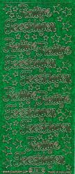 Starform sticker glitter groen prettige feestdagen 287 (Locatie: h186)