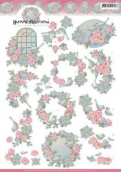 Yvonne Creations knipvel vogel en rozen CD11152 (Locatie: 1616)