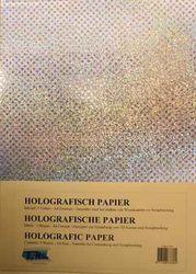 Holografisch papier Sterretjes zilver 5 vel A4 HP-105 (Locatie: 4332)