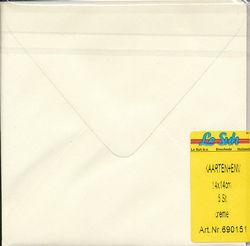 Le Suh kaarten en envelop 14 x 14 cm creme 5 stuks 690151 (Locatie: Q006)