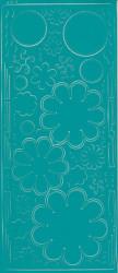 Stickervel turquoise bloemen 0400 (Locatie: S108)