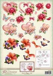 Ann's Paper Art knipvel bloemen en borduurpatroon APA3D029 (Locatie: 2241)