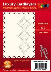 Doodey oplegkaarten met borduurpatroon 3 stuks ivoor BEC5905 (Locatie: K044 )