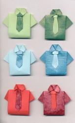 Handgemaakte origami stickers, overhemd, 6 stuks (Locatie: 1516)
