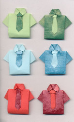Handgemaakte origami stickers, overhemd, 6 stuks
