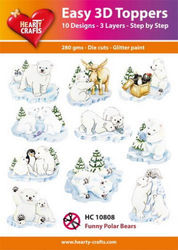Hearty Crafts Easy 3D Toppers Funny Polar Bears HC10808 (Locatie: K2)