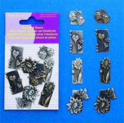 Hobby & Crafting Fun scrapbook bedels natuur 8 stuks 11810-4002 (Locatie: K3)