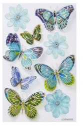 Hobbyfun 3D sticker vlinder en bloem blauw (Locatie: 4312)