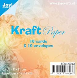 Joy Crafts! Kraft Paper 10 bruine vierkante kaarten met envelop 8001/0013 (Locatie: K3)