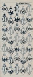 Stickervel kerstballen zilver transparant MD357005 (Locatie: u036)